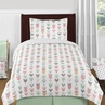 Grey, Coral and Mint Woodland Arrow 4pc Twin Bedding Set by Sweet Jojo Designs