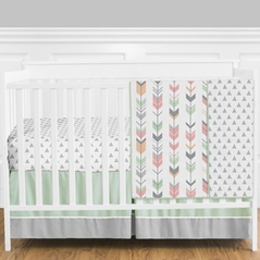 Grey, Coral and Mint Woodland Arrow Baby Bedding - 4pc Girls Crib Set by Sweet Jojo Designs