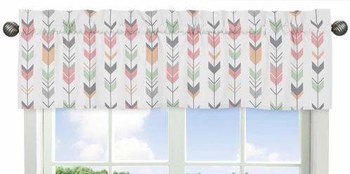 Window Valance for Grey, Coral and Mint Woodland Arrow�Collection by Sweet Jojo Designs - Click to enlarge