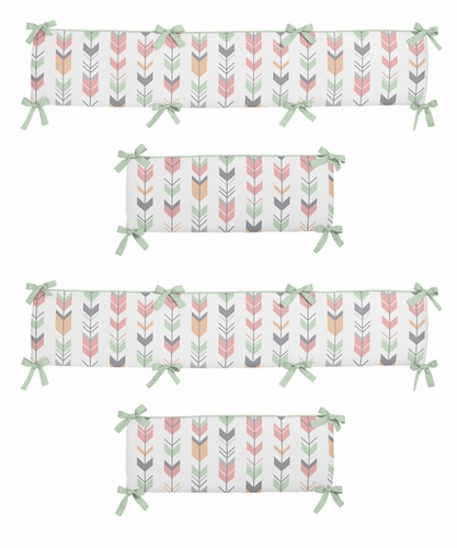 Grey, Coral and Mint Woodland Arrow Baby Crib Bumper Pad by Sweet Jojo Designs - Click to enlarge