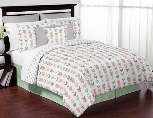 Grey, Coral and Mint Woodland Arrow 3pc Full / Queen Bedding Set by Sweet Jojo Designs - Click to enlarge