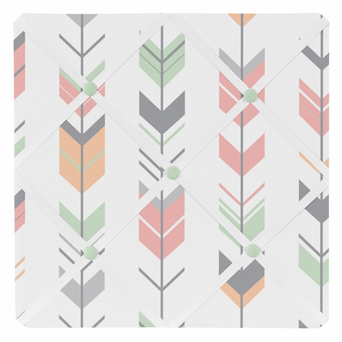 Grey, Coral and Mint Woodland Arrow Fabric Memory/Memo Photo Bulletin Board by Sweet Jojo Designs - Click to enlarge