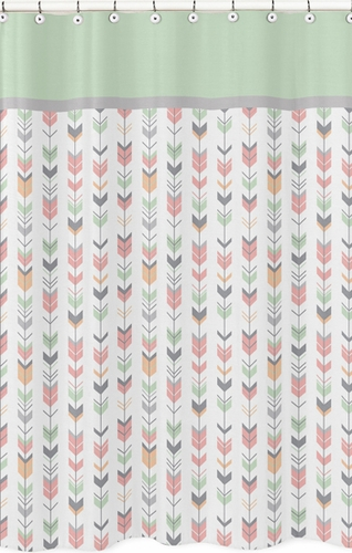 Grey, Coral and Mint Woodland Arrow Kids Bathroom Fabric Bath Shower Curtain by Sweet Jojo