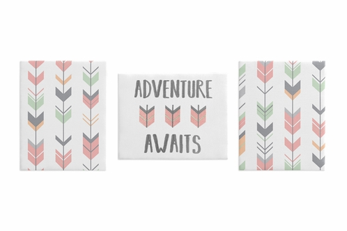 Grey, Coral and Mint Woodland Arrow Wall Art Room Decor Hangings for Baby, Nursery, Kids and Childrens Woodsy Collection by Sweet Jojo Designs - Set of 3 - Click to enlarge