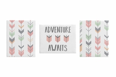 Grey, Coral and Mint Woodland Wall Art Room Decor Hangings for Baby, Nursery, Kids and Childrens Mod Arrow Collection by Sweet Jojo Designs - Set of 3