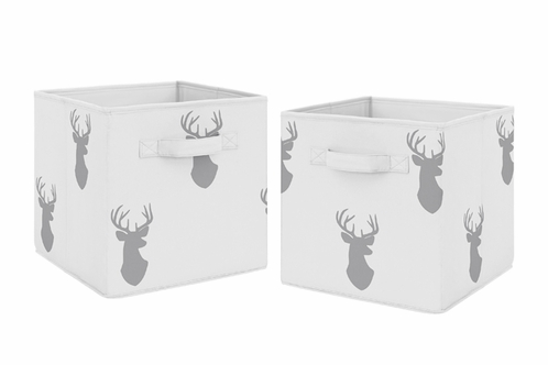 Grey Deer Foldable Fabric Storage Cube Bins Boxes Organizer Toys Kids Baby Childrens for Woodland Deer Stag Collection by Sweet Jojo Designs - Set of 2 - Click to enlarge