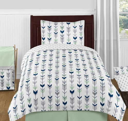 Grey, Navy Blue and Mint Woodland Arrow 4pc Twin Bedding Set by Sweet Jojo Designs - Click to enlarge