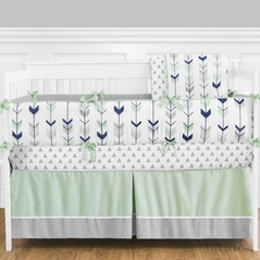 Grey, Navy Blue and Mint Woodland Arrow Baby Bedding - 9pc Crib Set by Sweet Jojo Designs
