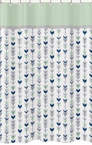 Grey, Navy Blue and Mint Woodland Arrow Kids Bathroom Fabric Bath Shower Curtain by Sweet