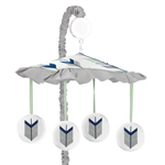 Grey, Navy Blue and Mint Woodland Arrow Musical Baby Crib Mobile by Sweet Jojo Designs