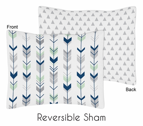 Grey, Navy Blue and Mint Woodland Arrow Pillow Sham by Sweet Jojo Designs - Click to enlarge