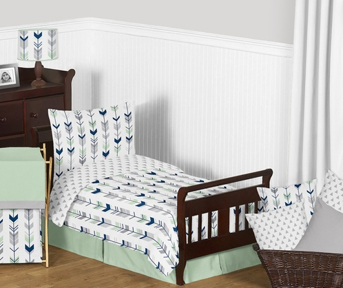 Grey, Navy Blue and Mint Woodland Arrow Toddler Bedding - 5pc Set by Sweet Jojo Designs - Click to enlarge