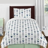 Grey, Navy Blue and Mint Woodland Arrow 4pc Twin Bedding Set by Sweet Jojo Designs