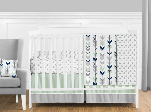 Grey, Navy Blue and Mint Woodland Arrow Baby Bedding - 4pc Girl or Boy Crib Set by Sweet Jojo Designs - Click to enlarge
