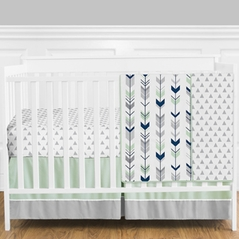 Grey, Navy Blue and Mint Woodland Arrow Baby Bedding - 4pc Girl or Boy Crib Set by Sweet Jojo Designs