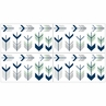 Grey, Navy Blue and Mint Woodland Arrow Baby, Childrens and Kids Wall Decal Stickers by Sweet Jojo Designs - Set of 4 Sheets
