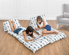 Grey, Navy Blue and Mint Woodland Arrow Collection Kids Teen Floor Pillow Case Lounger Cushion Cover by Sweet Jojo Designs