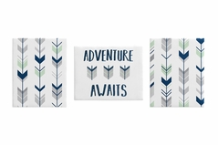 Grey, Navy Blue and Mint Woodland Wall Art Room Decor Hangings for Baby, Nursery, Kids and Childrens Mod Arrow Collection by Sweet Jojo Designs - Set of 3