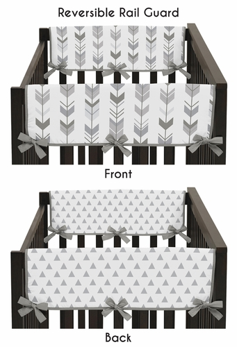 Grey Side Crib Rail Guards Baby Teething Cover Protector Wrap for Woodland Arrow Collection by Sweet Jojo Designs - Set of 2 - Click to enlarge