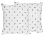 Grey Swiss Cross Decorative Accent Throw Pillows for Woodland Fox Collection by Sweet Jojo Designs - Set of 2