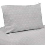 Grey Triangle Queen Sheet Set for Woodland Fox Collection by Sweet Jojo Designs - 4 piece set