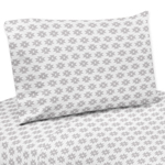 Grey Tribal Geometric Print 3 pc Twin Sheet Set for Feather Bedding Collection by Sweet Jojo Designs