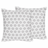 Grey Tribal Geometric Print Decorative Accent Throw Pillows for Feather Collection - Set of 2