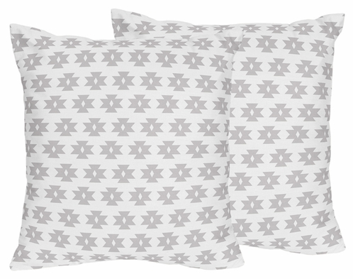 Grey Tribal Geometric Print Decorative Accent Throw Pillows for Feather Collection - Set of 2 - Click to enlarge