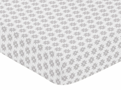 Grey Tribal Geometric Print Fitted Crib Sheet for Feather Collection Baby/Toddler Bedding by Sweet Jojo Designs - Click to enlarge