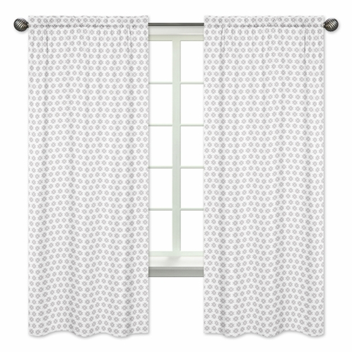 Grey Tribal Geometric Print Window Treatment Panels for Feather Collection by Sweet Jojo Designs - Set of 2 - Click to enlarge