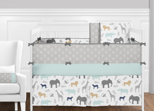 Grey, Turquoise and White Diamond Safari Animal Boy Baby Crib Bedding Set with Bumper by Sweet Jojo Designs - 9 Pieces - Click to enlarge