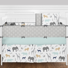 Grey, Turquoise and White Diamond Safari Animal Boy Baby Crib Bedding Set with Bumper by Sweet Jojo Designs - 9 Pieces