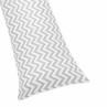 Grey and White Chevron Zig Zag Full Length Double Zippered Body Pillow Case Cover by Sweet Jojo Designs