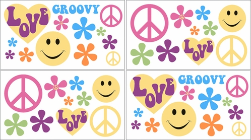Groovy Kids and Teens Peace Sign Wall Decal Stickers - Set of 4 Sheets - Click to enlarge