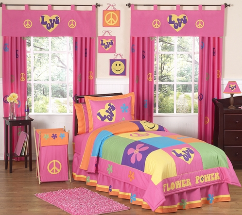 Groovy Peace Sign Children's Bedding - 4 pc Twin Set - Click to enlarge