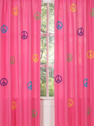 Groovy Peace Sign Window Treatment Panels - Set of 2 - Click to enlarge