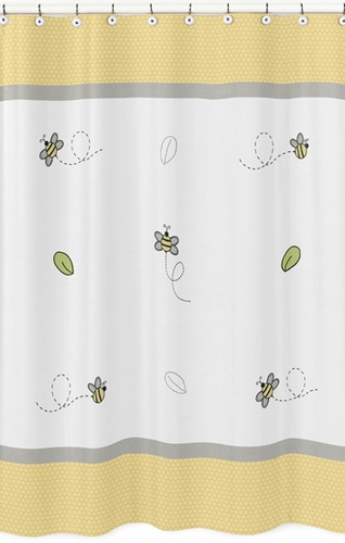 Honey Bee Childrens Bathroom Fabric Bath Shower Curtain by Sweet Jojo Designs - Click to enlarge