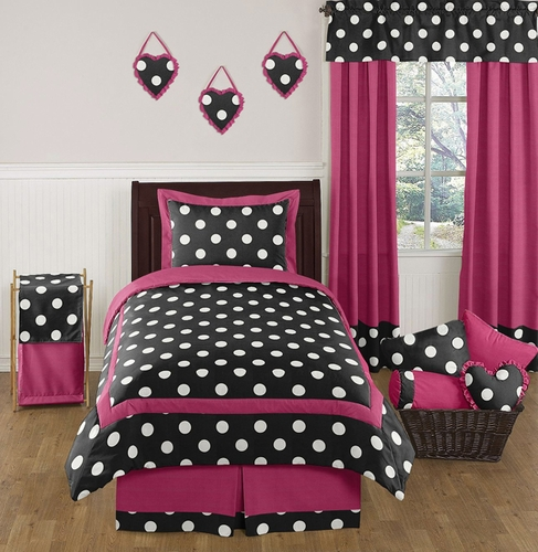 Hot Pink, Black and White Polka Dot Childrens and Teen Bedding Set by Sweet Jojo Designs - 4 pc Twin Set - Click to enlarge