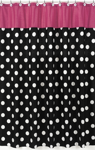 Hot dot modern kids bathroom fabric bath shower curtain by for Pink black and white bathroom ideas