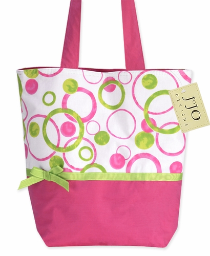 Hot Pink and Lime Green Modern Circles and Dots Tote Handbag (Great for Diaper Bag, Tote Bag, Purse or Beach Bag) - Click to enlarge