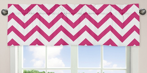Hot Pink and White Chevron Collection Zig Zag Window Valance - Click to enlarge