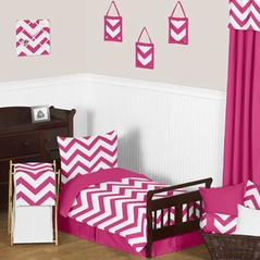 Hot Pink and White Chevron Toddler Bedding - 5pc Set by Sweet Jojo Designs