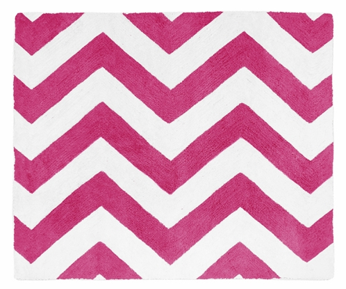 Hot Pink and White Chevron Zig Zag Accent Floor Rug by Sweet Jojo Designs - Click to enlarge