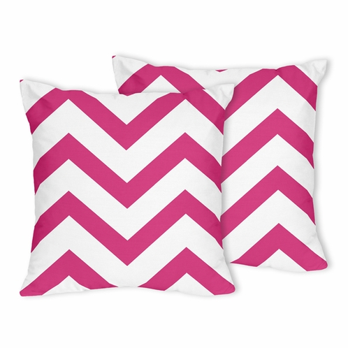 Hot Pink and White Chevron Zig Zag Decorative Accent Throw Pillows - Set of 2 - Click to enlarge