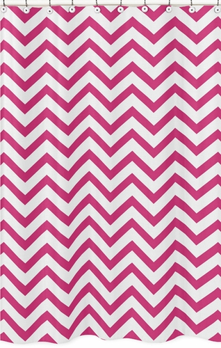 Hot Pink and White Chevron Zig Zag Kids Bathroom Fabric Bath Shower Curtain - Click to enlarge