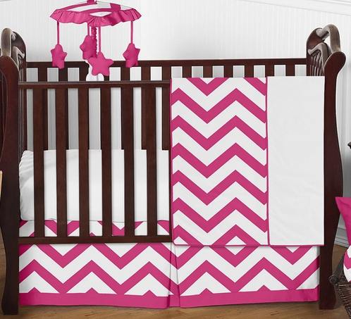 Hot Pink and White Chevron ZigZag Baby Bedding - 4pc Crib Set by Sweet Jojo Designs - Click to enlarge