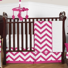 Hot Pink and White Chevron ZigZag Baby Bedding - 4pc Crib Set by Sweet Jojo Designs