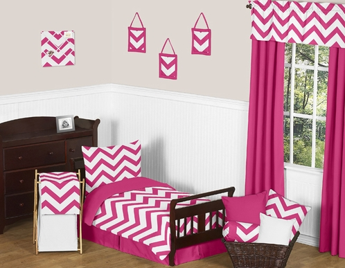 Hot Pink and White Chevron Toddler Bedding - 5pc Set by Sweet Jojo Designs - Click to enlarge