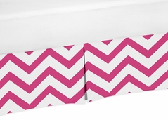 Hot Pink and White Zig Zag Crib Bed Skirt for Chevron Baby Bedding Sets by Sweet Jojo Designs