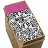 Hot Pink, Black and White Isabella Baby Changing Pad Cover by Sweet Jojo Designs